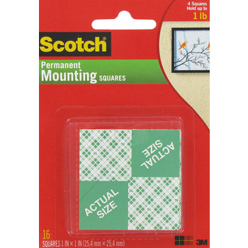 Permanent Foam Mounting Squares - 1""